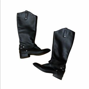 Tall black leather riding / moto boots 7.5